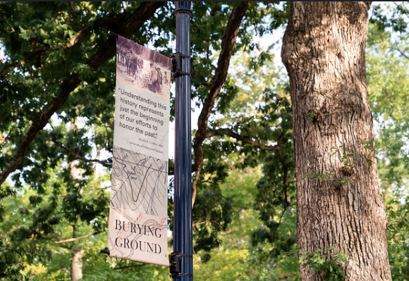 Temporary Signage Marks Burial Ground on UR Campus